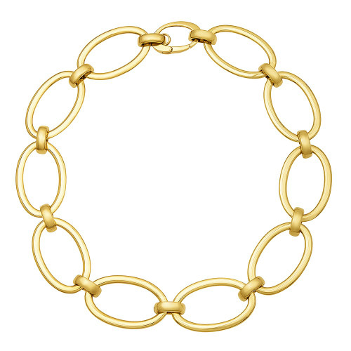 Large Oval Link Gold Necklace