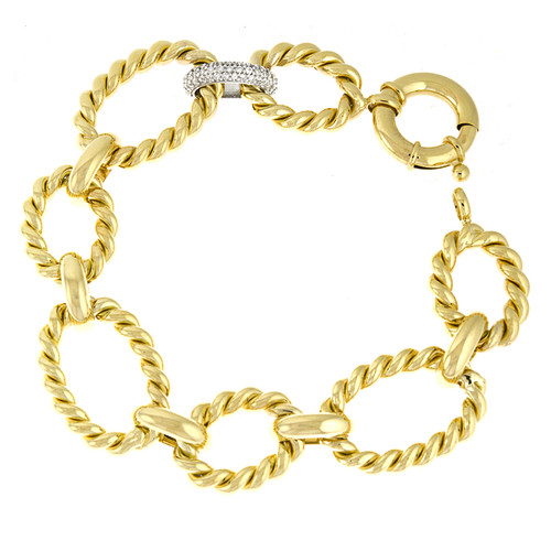 Oval Rope Link Gold Bracelet Single Diamond Link