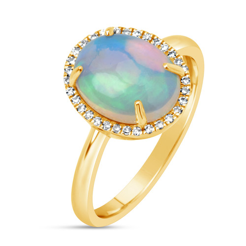 White Opal Ring with Diamond Halo