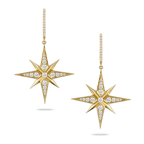 Gold Star Earrings with Diamonds