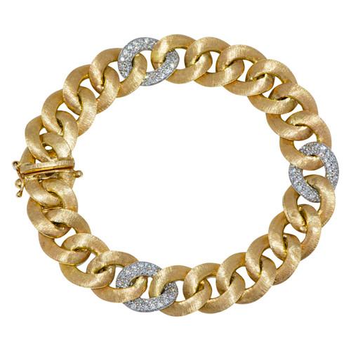 Yellow Gold Bracelet with Diamond Links