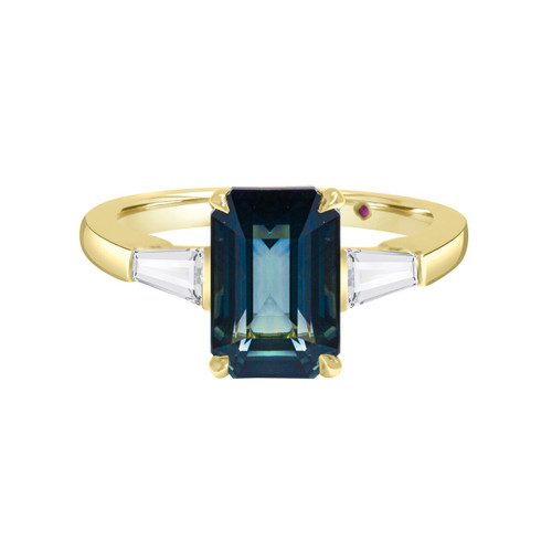 Teal Emerald Cut Sapphire Ring with Diamond Baguettes