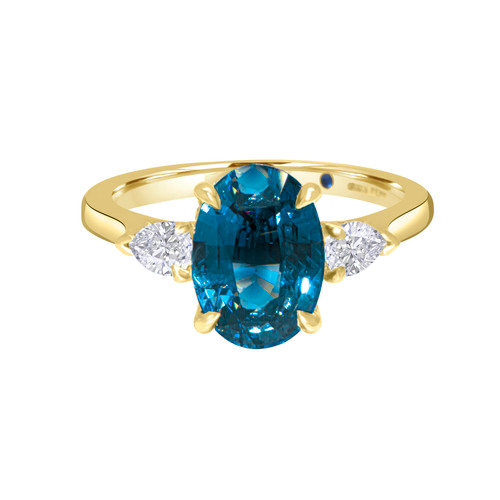 Oval Teal Sapphire  with Pear Shape Diamond Ring