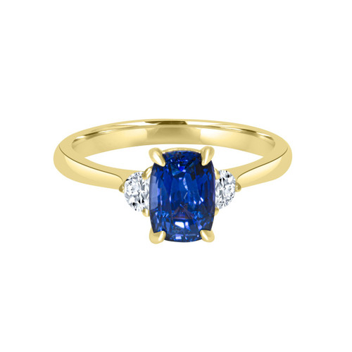 Color Change Sapphire Half Moon Diamond Ring