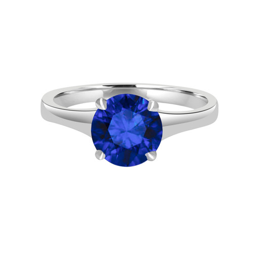 Round Blue Sapphire Solitaire Ring