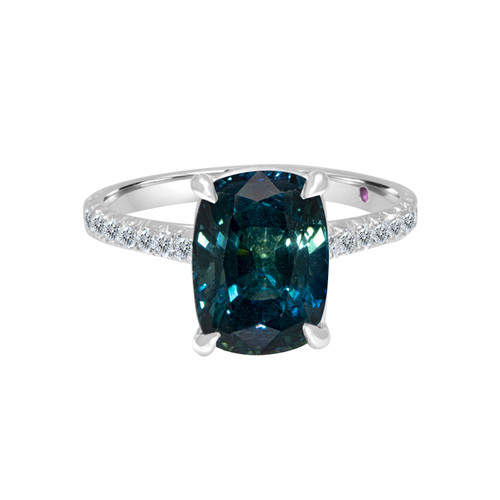 Teal Sapphire Cushion Diamond Ring