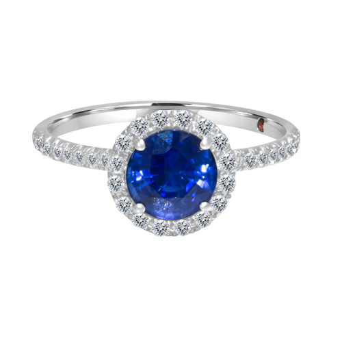 Round Blue Sapphire Ring with Diamond Halo and Band