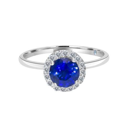 Round Blue Sapphire Ring with Diamond Halo