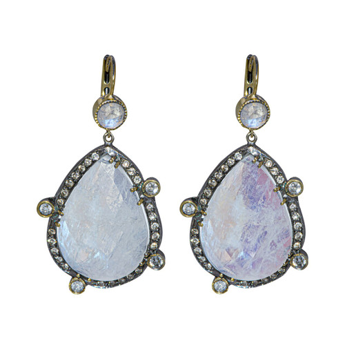 Moonstone Pear Shape Drop Earrings