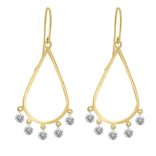 Teardrop Earrings with Diamond Dangles