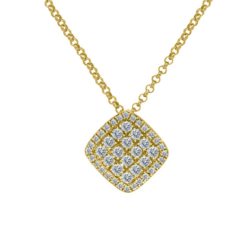 Cushion Shaped Pave Diamond Pendant