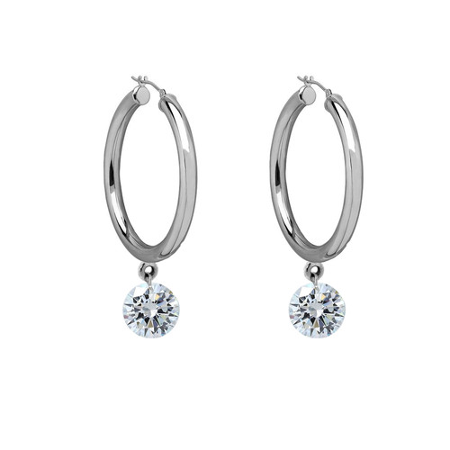 White Gold Oval Hoops with Floating Diamond Dangles