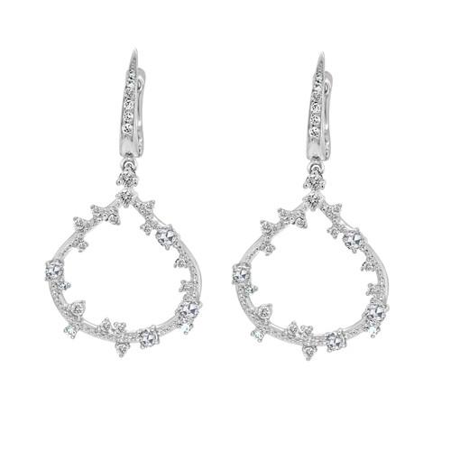Vine Teardrop Earrings with Rose Cut Diamonds