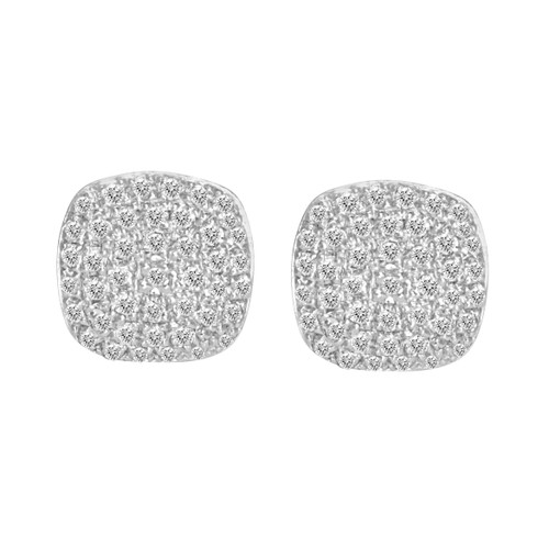 Cushion Shaped Pave Diamond Studs