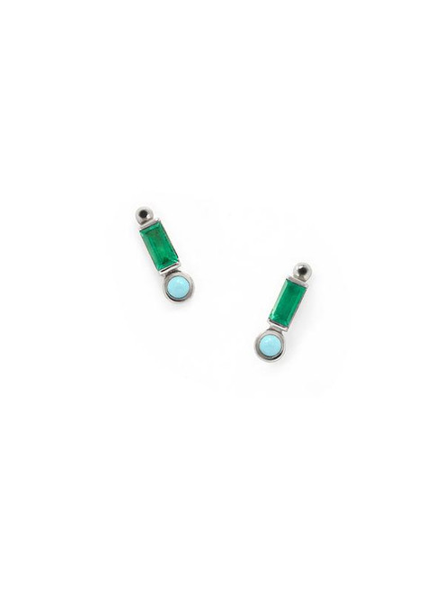 Baguette Emerald and Turquoise Mini Studs