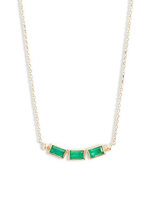 Triple Emerald Baguette Necklace