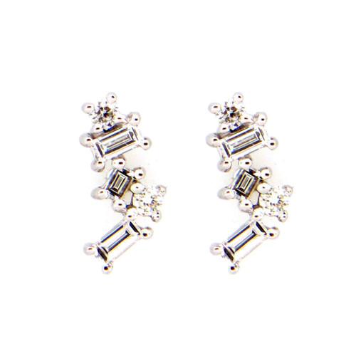 Cluster Baguette Diamond Studs