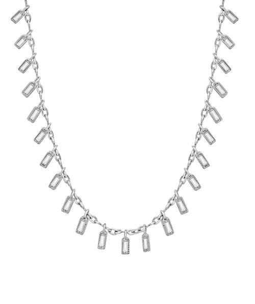Droplet Dangle Baguette Diamond Necklace in Platinum