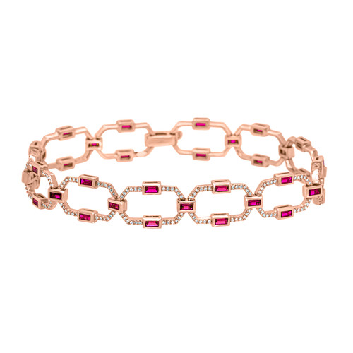 Vintage Style Bracelet with Rubies & Diamonds in Rose Gold