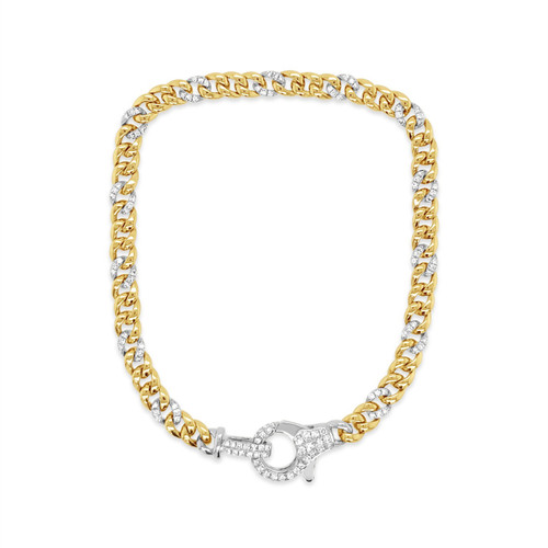 Chain Link Bracelet with Pave Diamonds