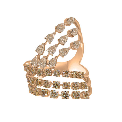 Multi-Row Champagne Diamond Cocktail Ring