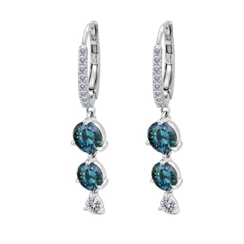Teal Sapphire Double Drop Earrings