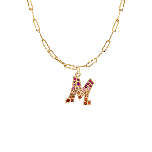 Graffito Initial - Pink and Orange Sapphire M