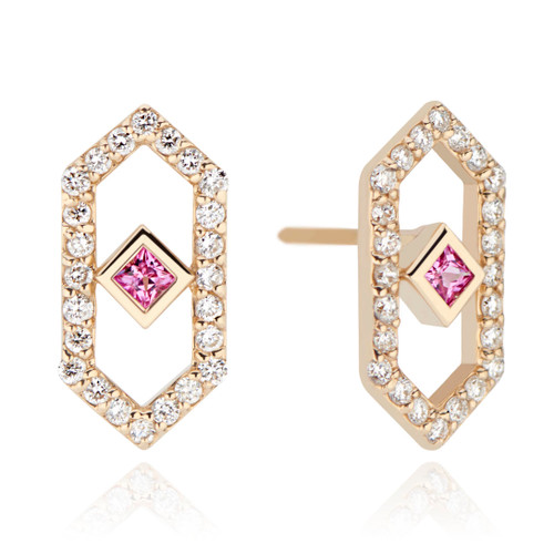 Chevron Earrings with Pink Sapphire