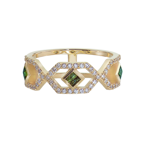 Gianna Half Eternity Band with Green Sapphires