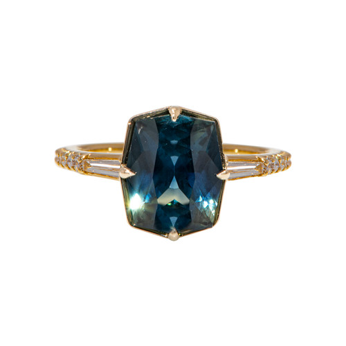 Cushion Teal Sapphire Yellow Gold Ring