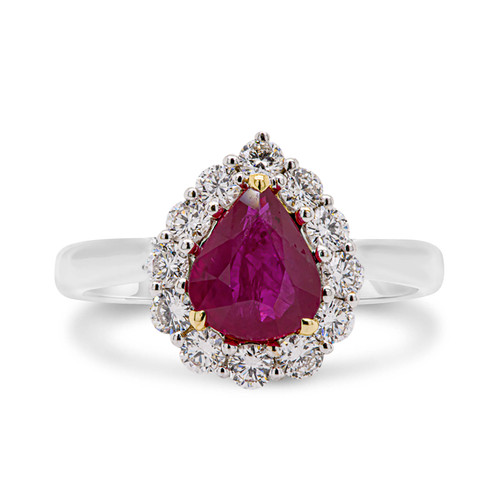 Pear Shape Ruby and Diamond Halo Ring