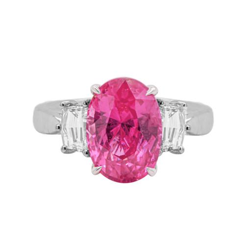 Pink Sapphire Three Stone Ring