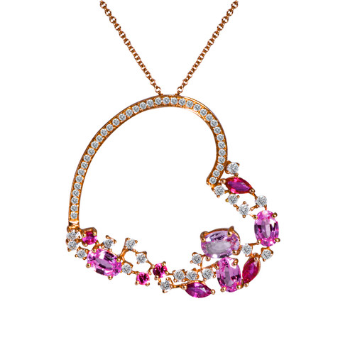 Large Heart Pendant with Pink Sapphires and Rubies