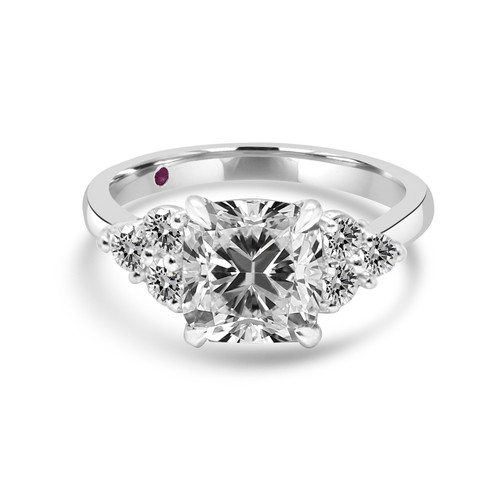 Cushion Diamond Engagement Ring Flanked by Brilliant Cut Diamonds