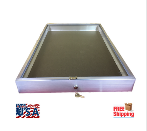 Aluminum Showcase Model 1170 opens on the end and is 34 x 22 x 3 1/4.