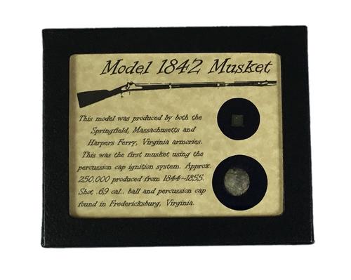 Original Civil War Model 1842 Musket Cap & Ball Bullet in Display Case with COA