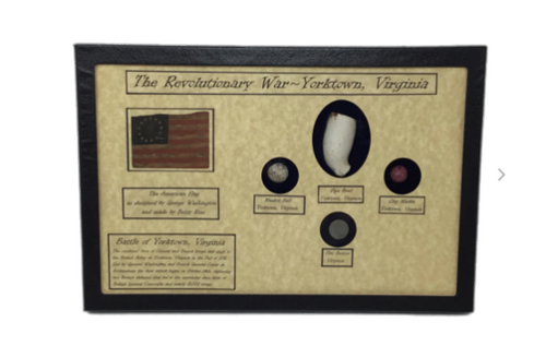 Authentic Revolutionary War Bullet, Button, Clay Pipe & Marble in Display Case with COA