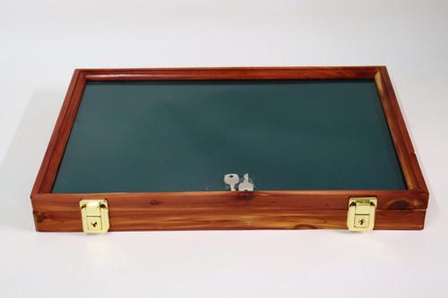 18 x 12 x 2 Discounted Cedar Display Case with Green Felt #039