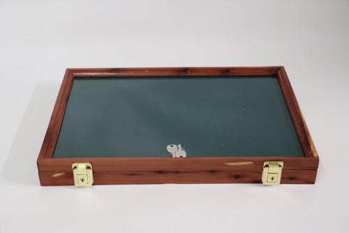18 x 12 x 2 Discounted Cedar Display Case with Green Felt #040