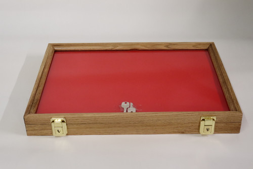 18 x 12 x 2 Discounted Oak Display Case with Red Felt #047
