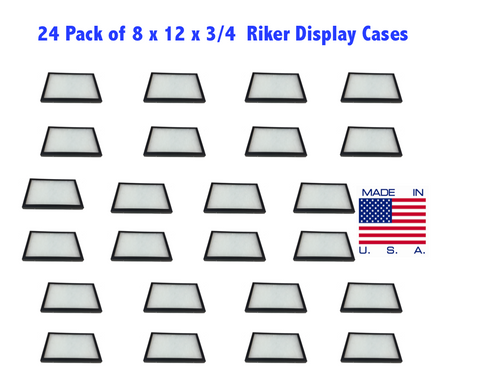 24 Pack of Riker Display Cases 8 x 12 x 3/4 for Collectibles Jewelry & More