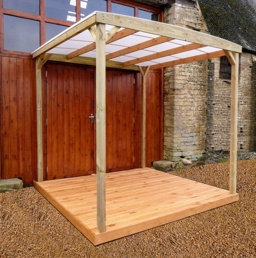 HOT TUB SHELTER, GAZEBO. WOODEN SIDES, POLYCARBONATE CANOPY , 2.4M x 2.4M