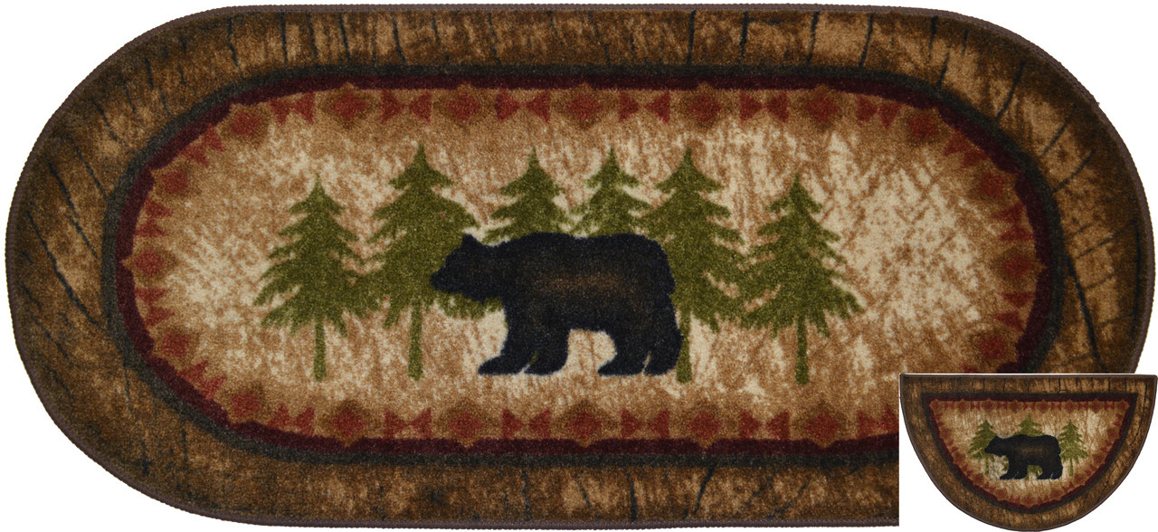 Dean Washable Non Slip Brown Bear Cabin Mountain Kitchen Bath Door Entrance Mat Rug Set 20 Inch X 44 Inch Oval 1 And Matching 19 Inch X 31 Inch Half Circle 1 Dean Stair Treads