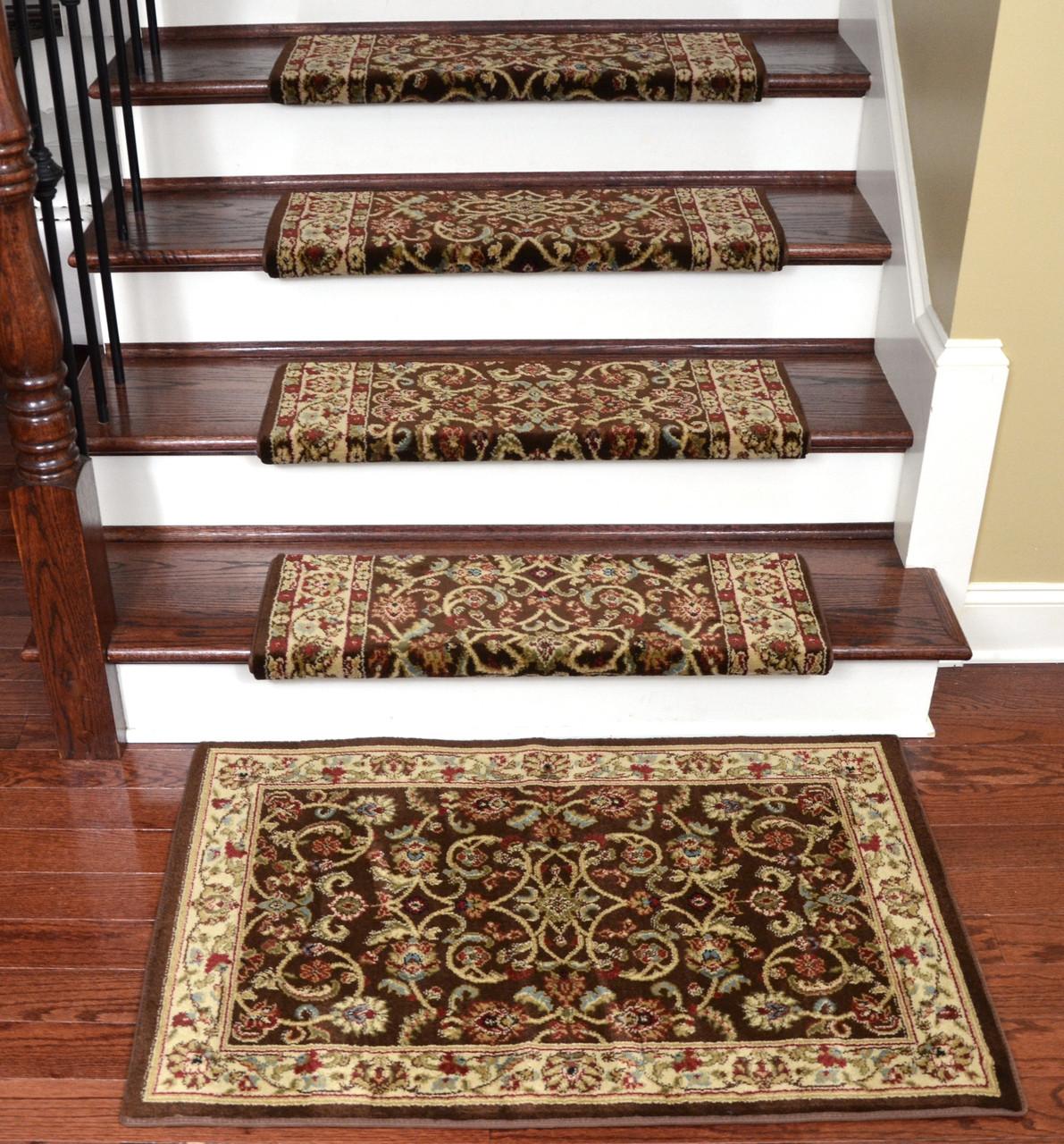 Image of: Dean Non Slip Tape Free Pet Friendly Stair Gripper Bullnose Carpet Stair Treads Classic Keshan Chocolate 31 W 15 Plus A Matching 27 X 39 Landing Mat 1 Dean Stair Treads