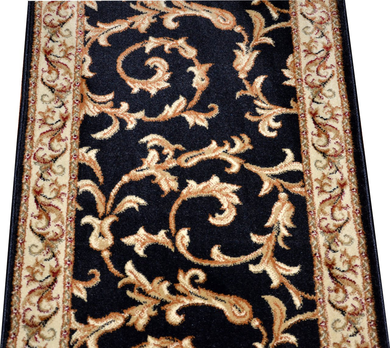 Dean Black Scrollworks Custom Length Carpet Rug Hallway Stair