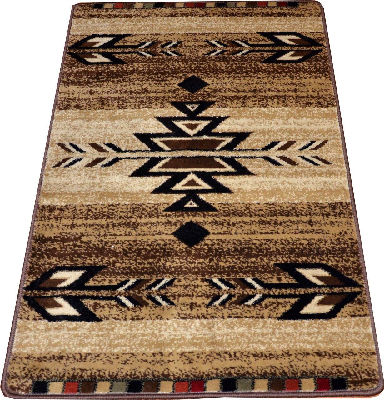 Dean Santa Fe Beige 31 W Southwestern Lodge Cabin Carpet Rug