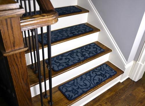 "Rug Depot 14 Contemporary Stair Treads 30/""x 9/"" Brown Wool w// Landing Rug /& Tabs"