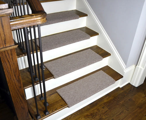 Affordable Beige Non Slip Bullnose Carpet Stair Treads
