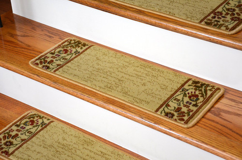 Dean Premium Carpet Stair Treads Talas Floral Beige Set