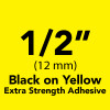 "1/2"" black on yellow extra strength ptouch opened box"